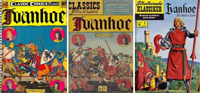 De tre versionerna av Ivanhoe, från 1942, 1947 och 1957.