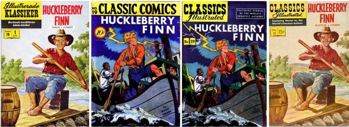 Omslag till Huckleberry Finn i IK och till olika amerikanska förlagor.