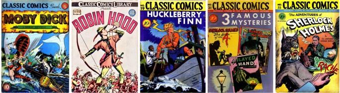 Classic Comics #5, #7, #19, #21 och #33. ©Gilberton