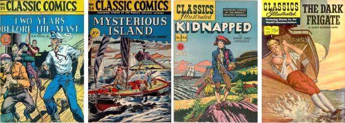 Omslagen i original till de fyra nummer Robert Webb tecknade serierna till. De tre första tecknade teamet Webb/Heames även omslagen. ©Gilberton