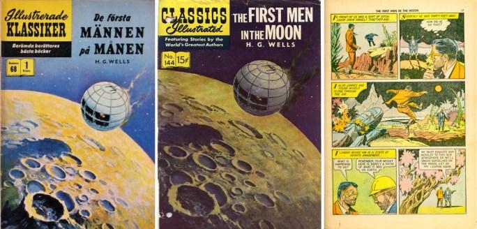 Omslag till Illustrerade klassiker nr 68 och Classic Illustrated #144, och en sida med det tydligt science-fiction-inspirerade tecknandet. ©IK/Gilberton