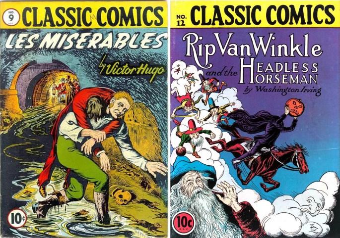 Omslag till Classic Comics #9 och #12.