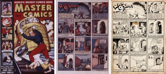 Rick O'Shay gick som serie i såväl Wow Comics som i Master Comics. Original till den inledande sidan i #2, 1940 (t.h.).