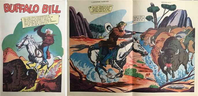 Första seriesidan och mittuppslag ur IK nr 15 Buffalo Bill (CI #106). ©IK/Gilberton