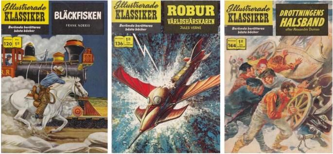 Omslag till tre nummer av Illustrerade klassiker av Gray Morrow. ©IK/Gilberton