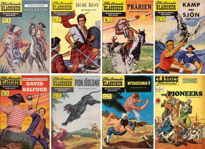 Omslag till Illustrerade klassiker av Rudy Palais, och ett omslag av Palais (nere t.h.). ©IK/Gilberton