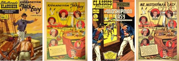 Illustrerade klassiker nr 100, med omslag från br. CI #74, och motsvarande sidor ur am. CI #74. ©IK/Gilberton/T&P