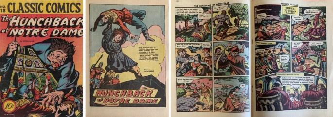 Omslag, första sida och mittuppslag i Classic Comics #18. ©Gilberton