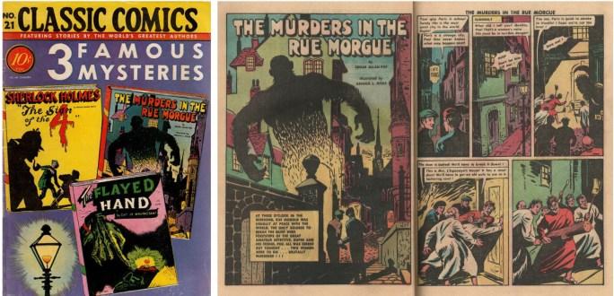 Omslag och första uppslag av en serie av Hicks i Classic Comics #21. ©Gilberton