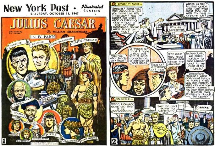 Illustrerade klassiker som söndagsbilaga: Inledande två sidor ur Julius Caesar, från 11 oktober, 1947. ©Gilberton