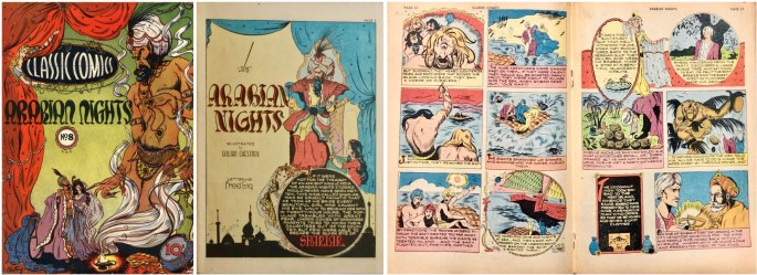 Omslag, förstasida och mittuppslag ur Classic Comics #8. ©Gilberton