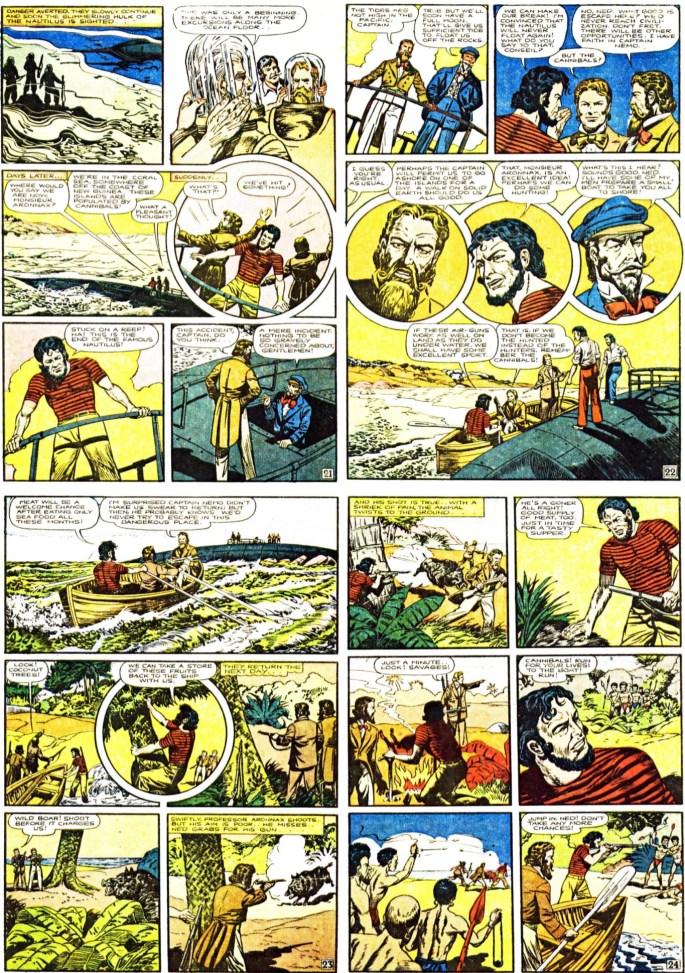 Sidan 21-24 i Illustrated Classic. Sidan 21 fanns med också i serietidningen, men den hade en inlaga på endast 48 sidor så sidorna 22-30 med flera sidor saknades. ©Gilberton