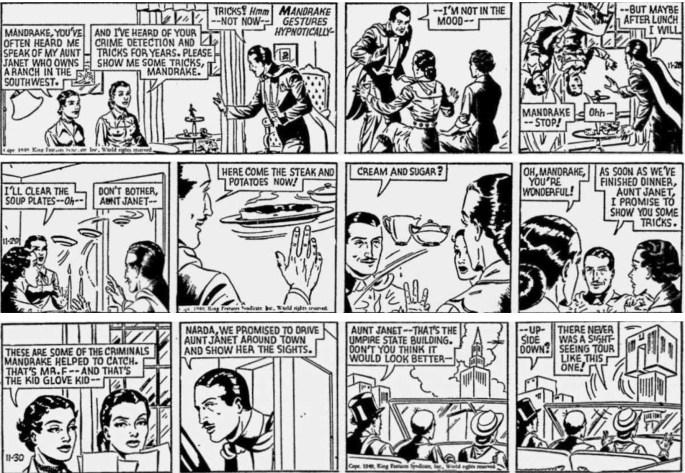 Motsvarande strippar ur Mystery at the Bar-J Ranch från Mandrake the Magician 28-30 november 1949. En av stripparna bortredigerad i tidningen. ©KFS
