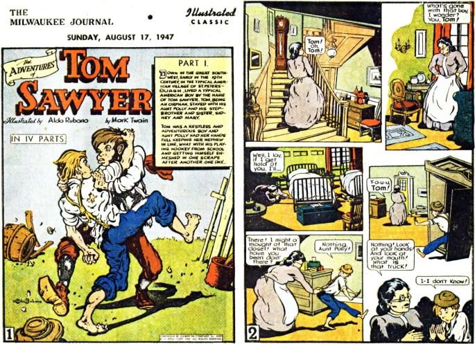 Illustrerade klassiker som söndagsbilaga: Inledande två sidor ur The Adventures of Tom Sawyer, från 17 augusti, 1947. ©Gilberton
