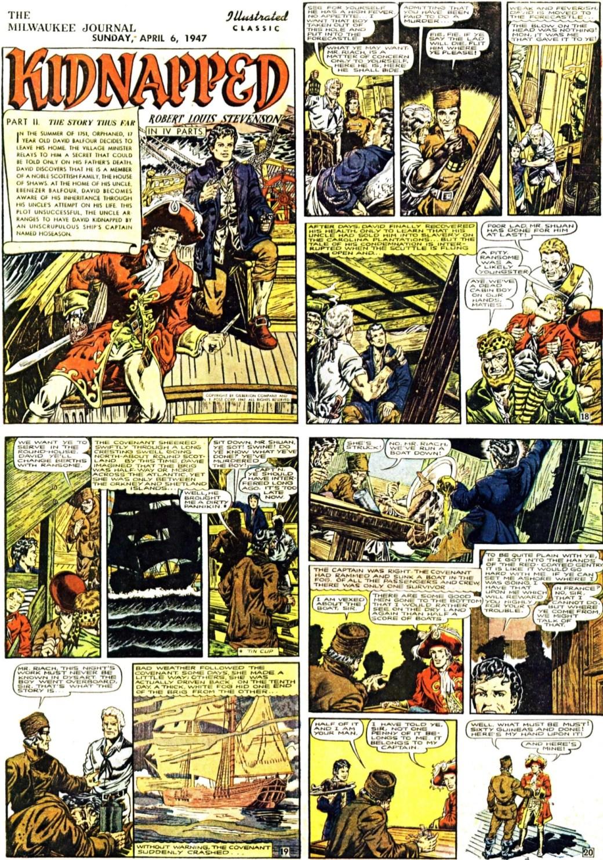 De inledande fyra sidorna ur den andra bilagan med Kidnapped. Sidan 18 var en av de sidor som sedan ströks vid tryckningen av serietidningen. ©Gilberton