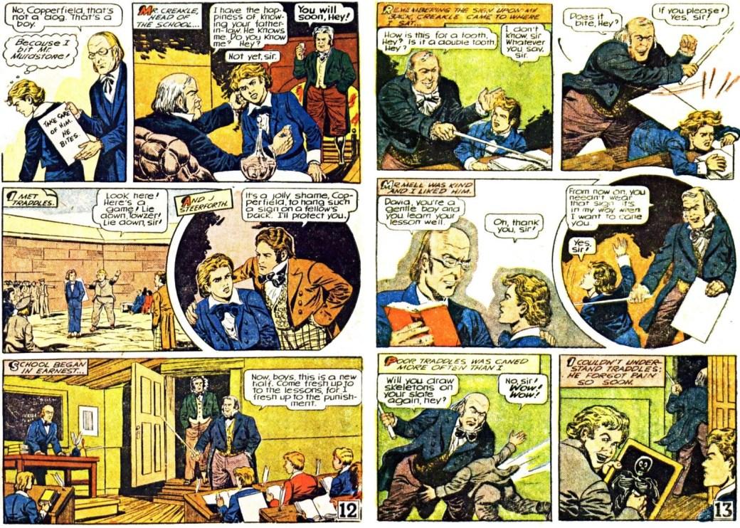 Sidan 12 och 13 ur tidningssida 3 resp. 4 ur den första bilagan med David Copperfield, från 25 maj 1947. ©Gilberton