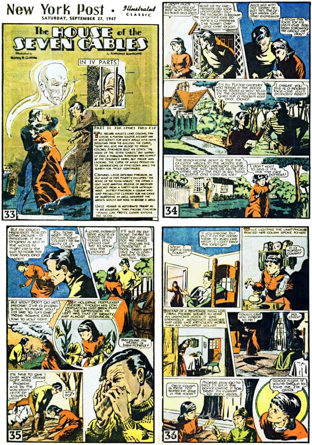 De inledande fyra sidorna ur den tredje bilagan med The House of the Steven Gables. Sidan 35 var en av de sidor som sedan ströks vid tryckningen av serietidningen. ©Gilberton