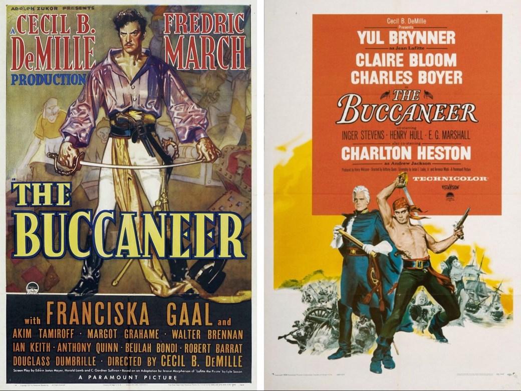 Filmaffischer för The Buccaneer 1938 och 1958. ©Paramount