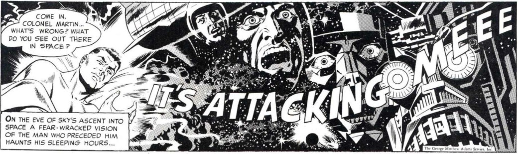 En dramatisk dagsstripp från 1 oktober 1958 av Jack Kirby och Wally Wood. ©Adams