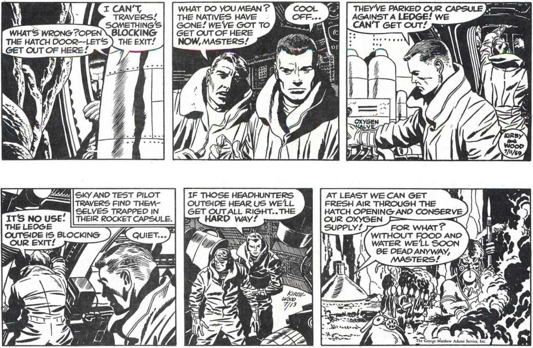 Den 11 juli 1959, den övre strippen, var den sista Wally Wood tuschade. Jack och Roz Kirby tog sedan över tuschandet under några veckor. ©Adams