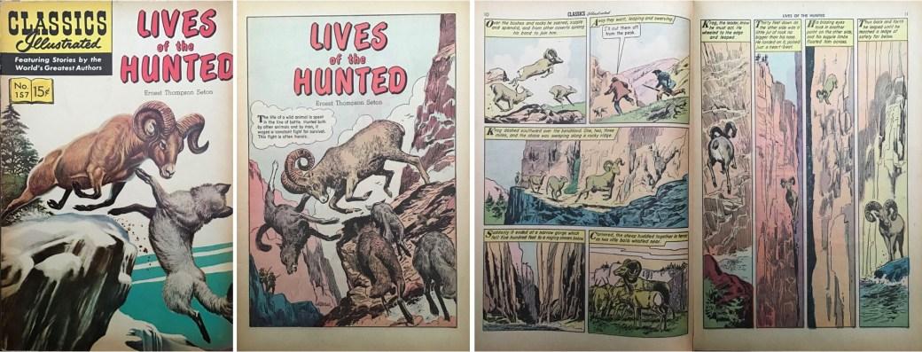 Omslag, förstasida och ett uppslag ur Classics Illustrated #157. ©Gilberton