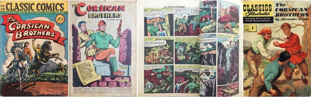 Omslag, förstasida och ett uppslag ur CC #20 (1944), och omslag till brittiska CI #56A. ©Gilberton/T&P