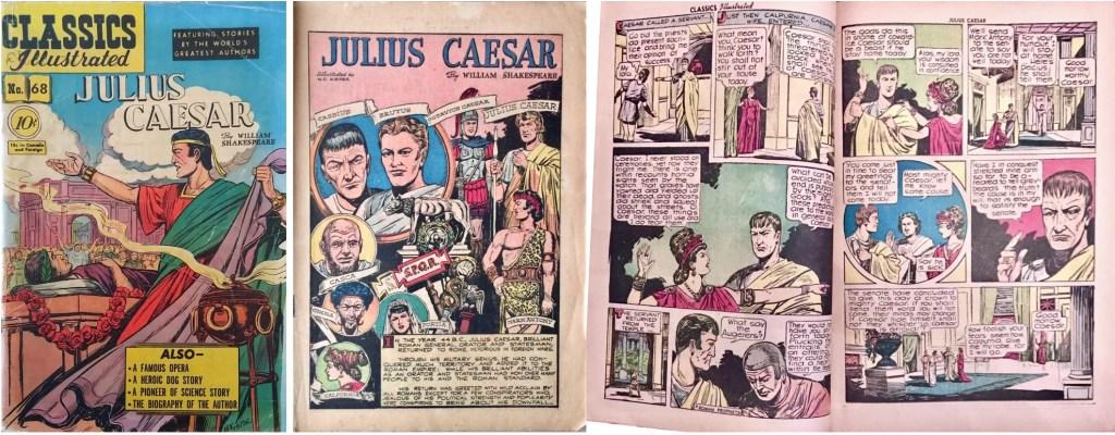 Omslag, förstasida och ett uppslag ur Classics Illustrated #68 (1950). ©Gilberton