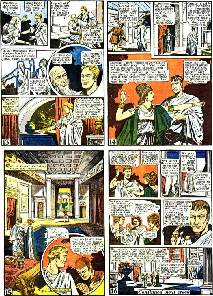 De avslutande fyra sidorna ur den första bilagan med Julius Caesar från 11 oktober 1947. Sidan 14 och 15 omarbetades till en sida vid tryckningen av serietidningen (ovan). ©Gilberton