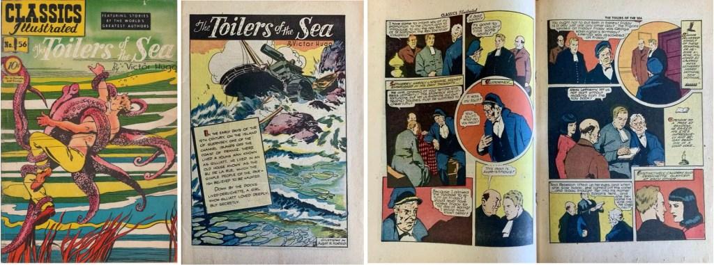 Omslag, förstasida och ett uppslag ur Classics Illustrated #159. ©Gilberton