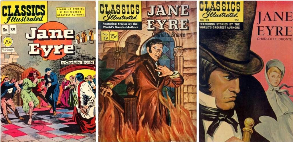 Omslag till Classics Illustrated #39 från 1947, 1958 och 1968. ©Gilberton