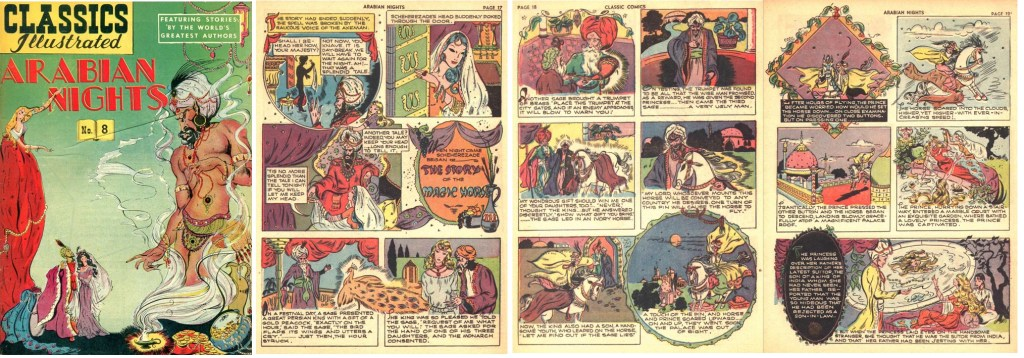 Omslag och inledande sidor till The Story of the Magic Horse ur Classics Illustrated #8 från september 1948. ©Gilberton