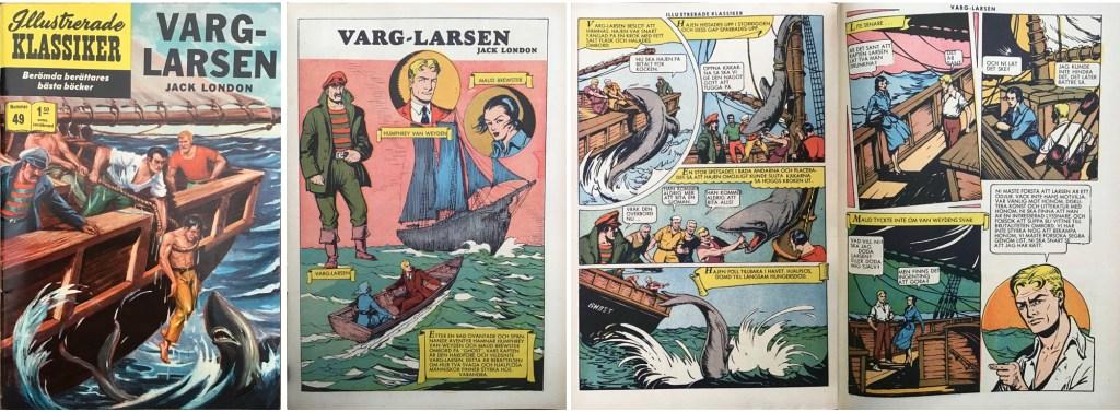 Omslag, förstasida och ett uppslag ur Illustrerade klassiker nr 49.