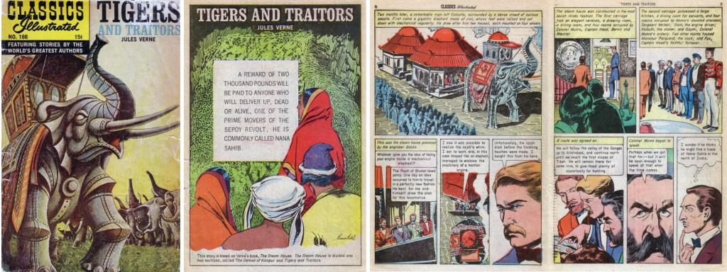 Omslag, förstasida och ett uppslag från Classics Illustrated #166. ©Gilberton
