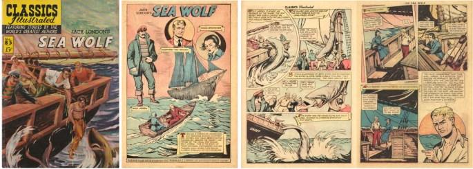Omslag, förstasida och ett uppslag ur Classics Illustrated #85. ©Gilberton