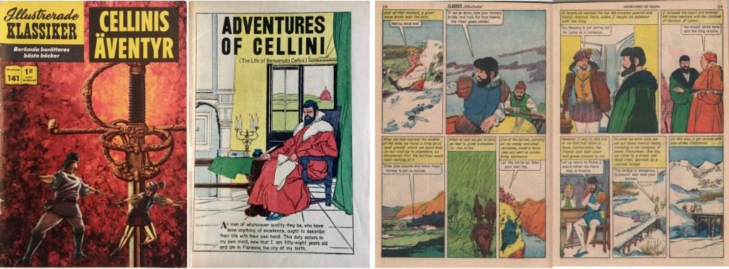 Omslag till IK nr 141, förstasida och mittuppslag från Classics Illustrated #38. ©IK/Gilberton