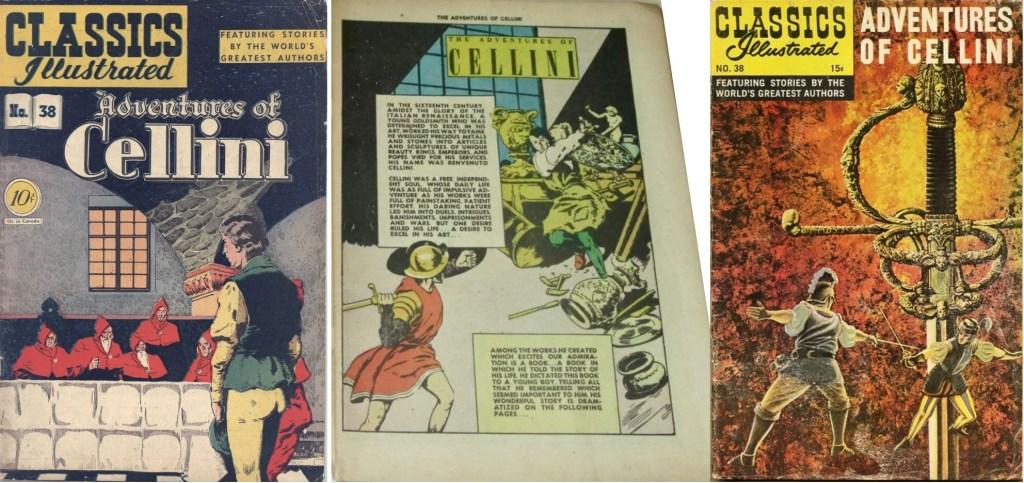 Omslag och förstasida ur Classics Illustrated #38 (1947) och omslag från 1961. ©Gilberton