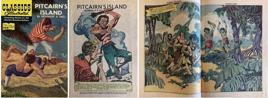 Omslag, förstasida och mittuppslag ur Classics Illustrated #109. ©Gilberton