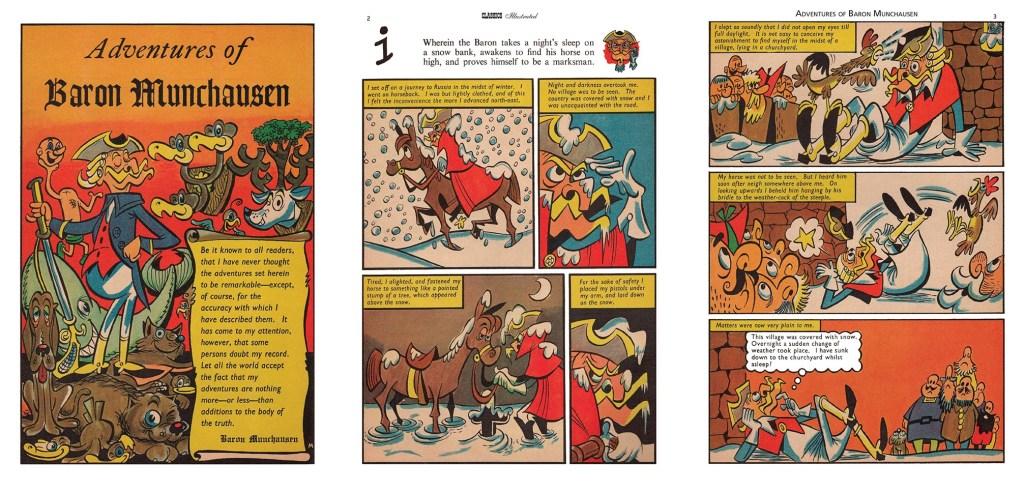 Förstasida och inledande uppslag ur brittiska Classics Illustrated #146. ©T&P