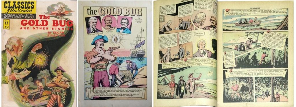 Omslag, förstasida och ett uppslag ur den första serien i Classics Illustrated #84 (1951). ©Gilberton