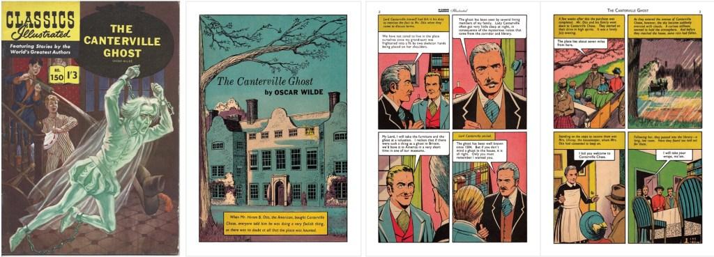 Omslag, förstasida och inledande sidor ur br. Classics Illustrated #150. ©T&P