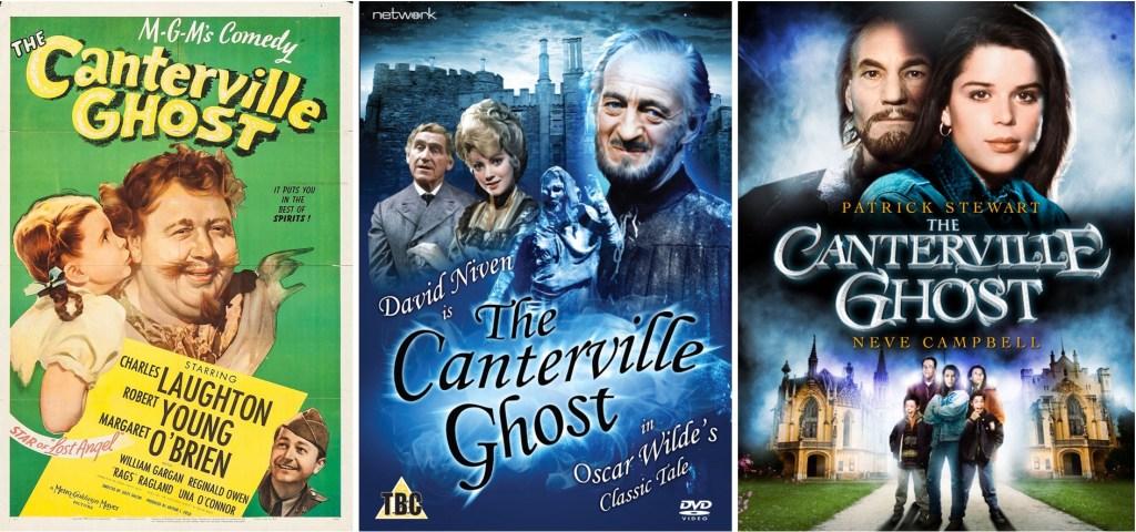 Filmaffisch från 1944, DVD-omslag till tv-film från 1974, och tv-film från 1996.