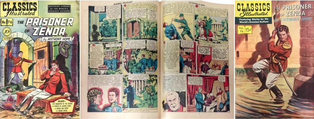 Omslag och mittuppslag ur Classics Illustrated #76 (1950) och omslag från 1955. Notera att svenska Illustrerade klassiker spegelvänt omslaget. ©Gilberton