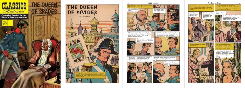 Omslag, förstasida och ett inledande uppslag från br. Classics Illustrated #157. ©T&P
