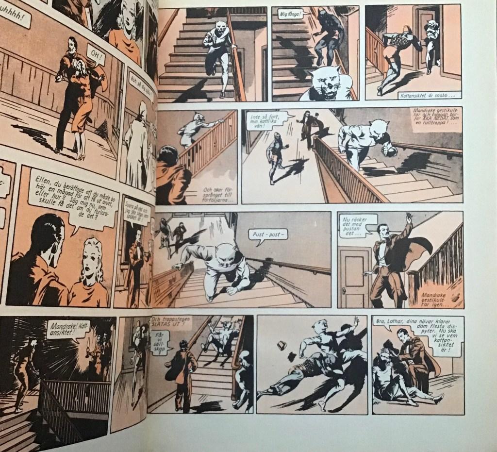 Serierna i Mandrake-albumet Seriebiblioteket (Hemmets Journal)  hade svart-röd färg. ©Bulls