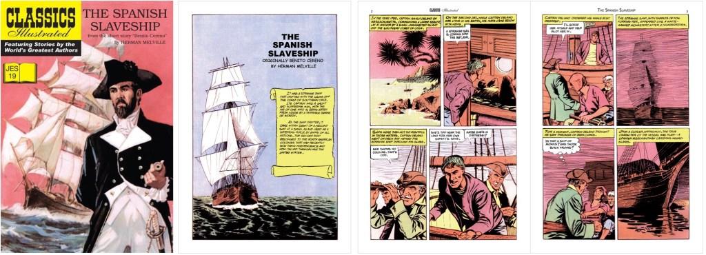 Omslag, förstasida och ett första uppslag i engelsk översättning ur Classics Illustrated (JES) No. 19. ©IK/JES