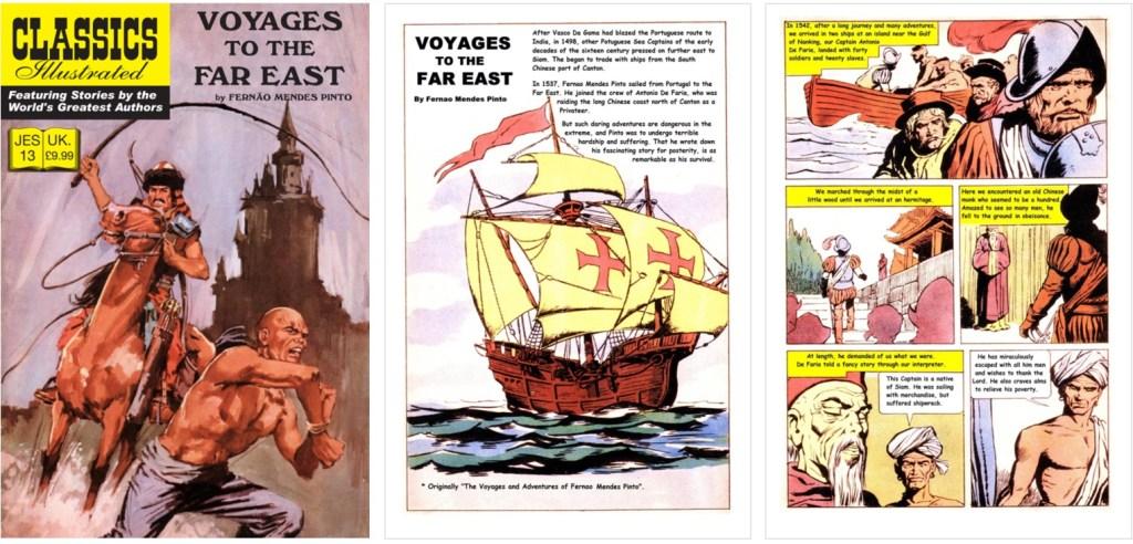 Omslag, förstasida och en sida ur inlagan ur Classic Illustrated (JES) No. 13. ©JES