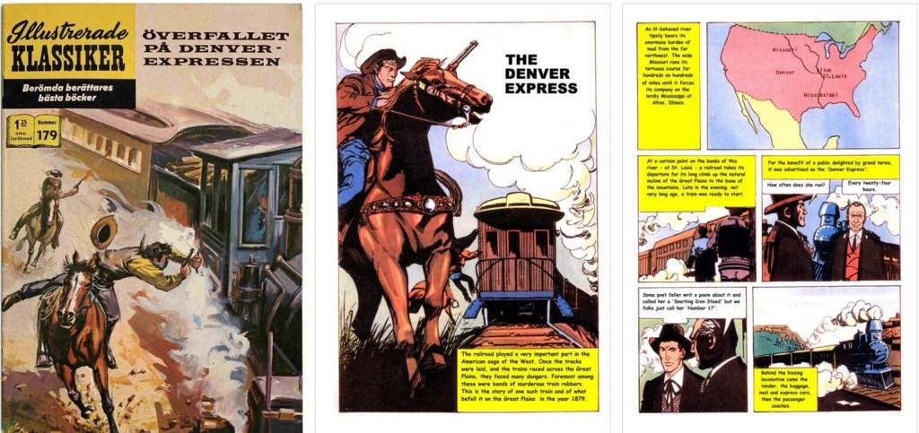 Omslag till Illustrerade klassiker nr 179, förstasida och sida från inlagan ur Classics Illustrated (JES) No. 8. ©Williams/JES