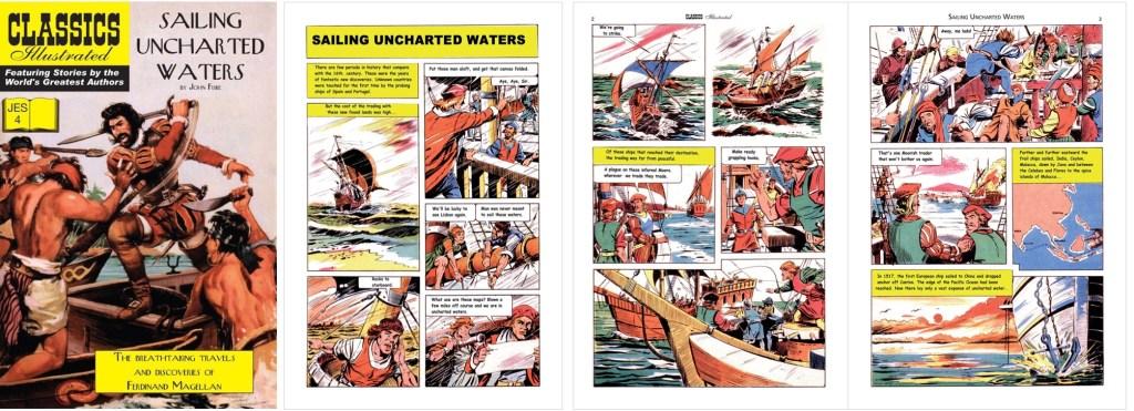 Omslag, förstasida och inledande sidor ur Classics Illustrated (JES) No. 4. ©JES