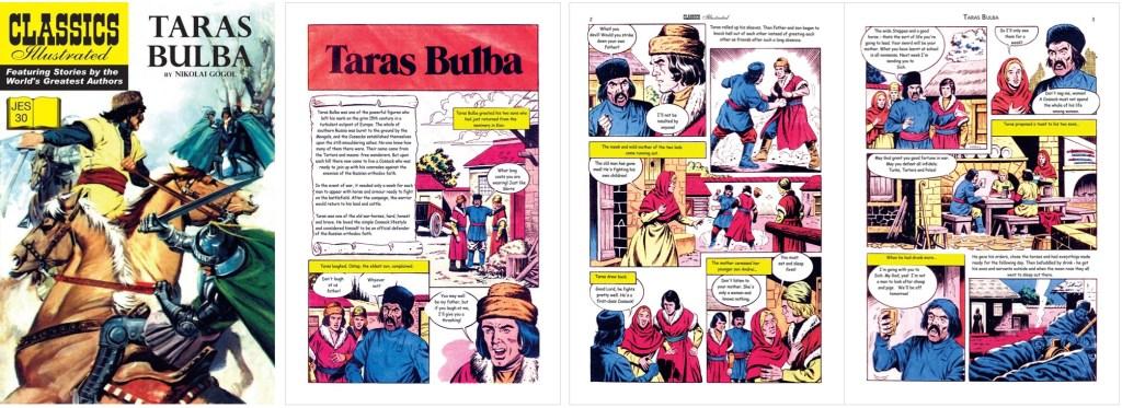 Omslag och inledande sidor ur Classics Illustrated (JES) No. 30. ©JES