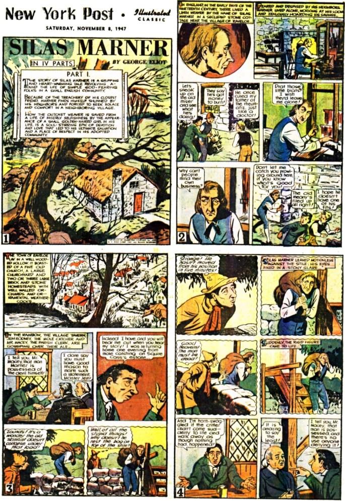 Inledande 4 sidor av 64 ur Illustrated Classic med Silas Marner, från 8 november, 1947. ©Gilberton